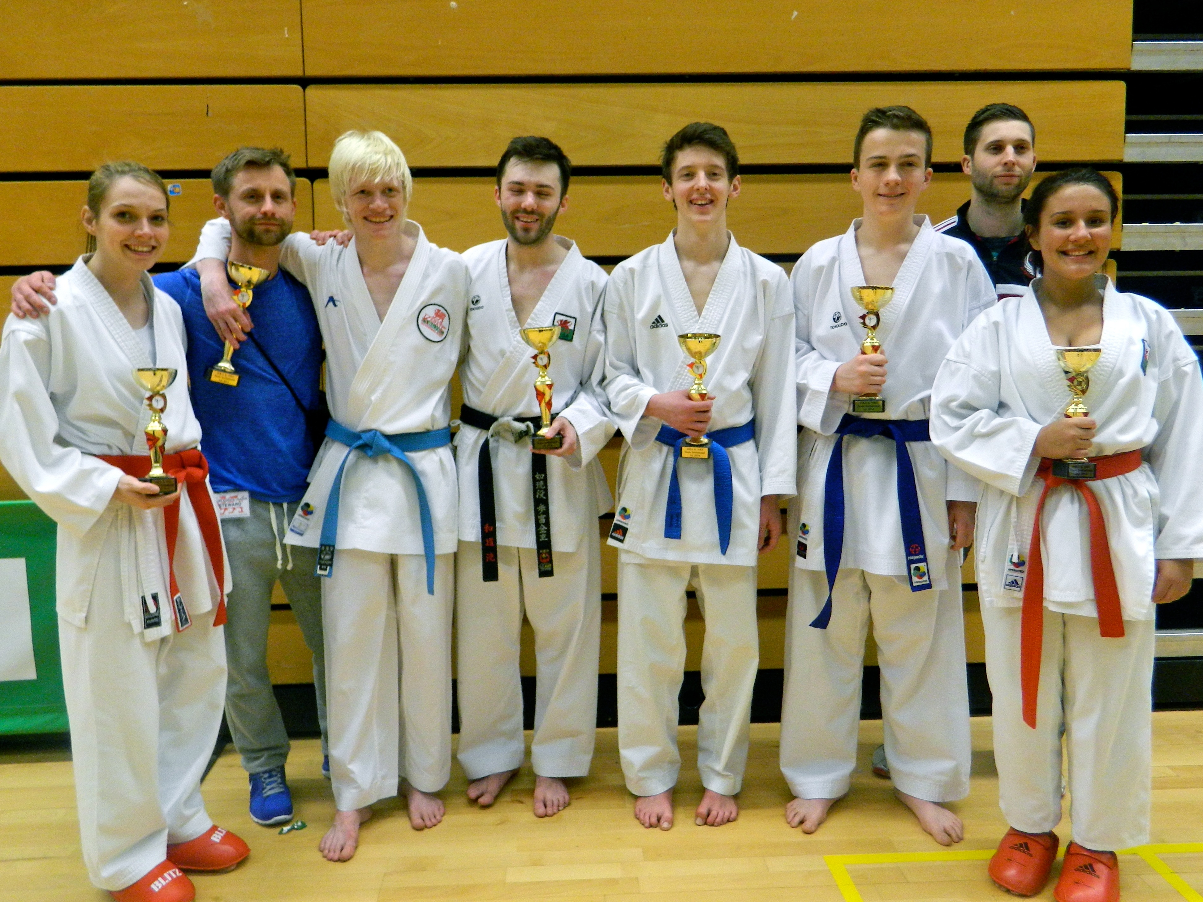 Karate Wales Mens and Ladies teams with Gareth Reynolds and David Godfrey